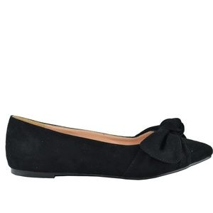 Women's Black Suede Flat Ballet With Bow Detail